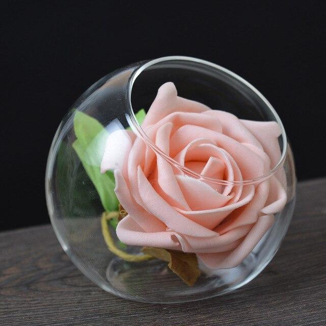 1pc Handmade Glass Flat Vase Flower Vases Home Decor Wedding
