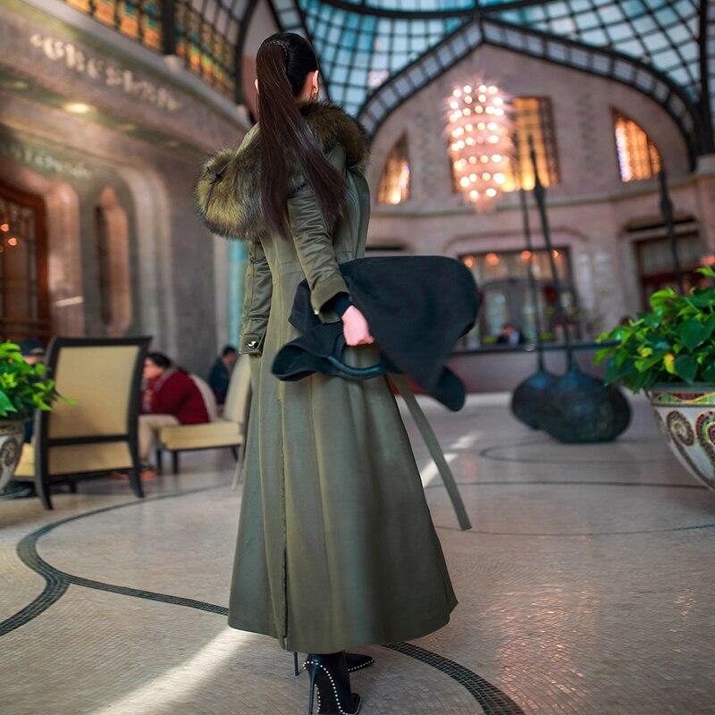 Cheveux Collier Rembourré À Réglable Épaississent Taille De Femelle Chaleur Capuche Lourds Lcy1024 Mode Green Hiver Long Nouvelle Eurostyle Army Femmes Manteau Tq088C