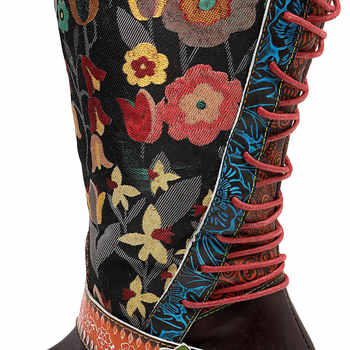 Johnature Vintage 2019 New Genuine Leather Knee High Boots for Women Lace-up Autumn Ladies Shoes Woman Flower Booties