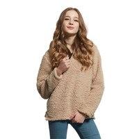 Europe Station New Arrival Winter Women Fashion Fleece Wool Warm Pullovers Female Plush Hoodies Women S
