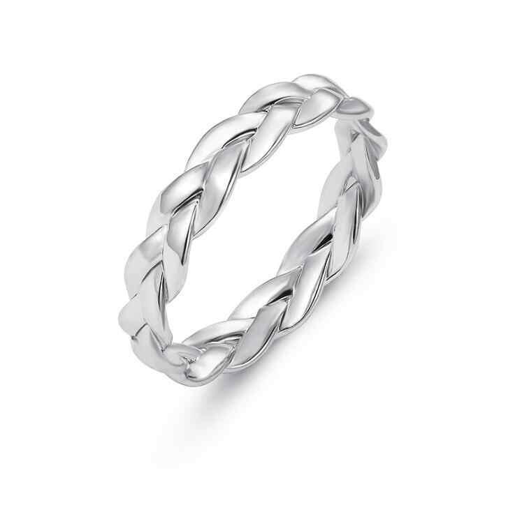 Alta qualidade 1 pçs moda feminino pequeno anel de prata cor do ouro torcido liga anel para festa de casamento feminino tamanho 6/7/8/9/10
