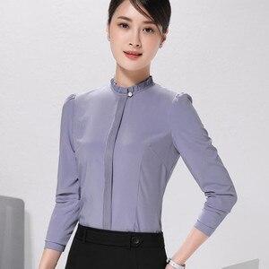 Image 2 - אופנה חדש נשים חולצה רשמית עסקים slim צווארון עומד ארוך שרוול שיפון חולצה נשי לבן אפור בתוספת משרד חולצות