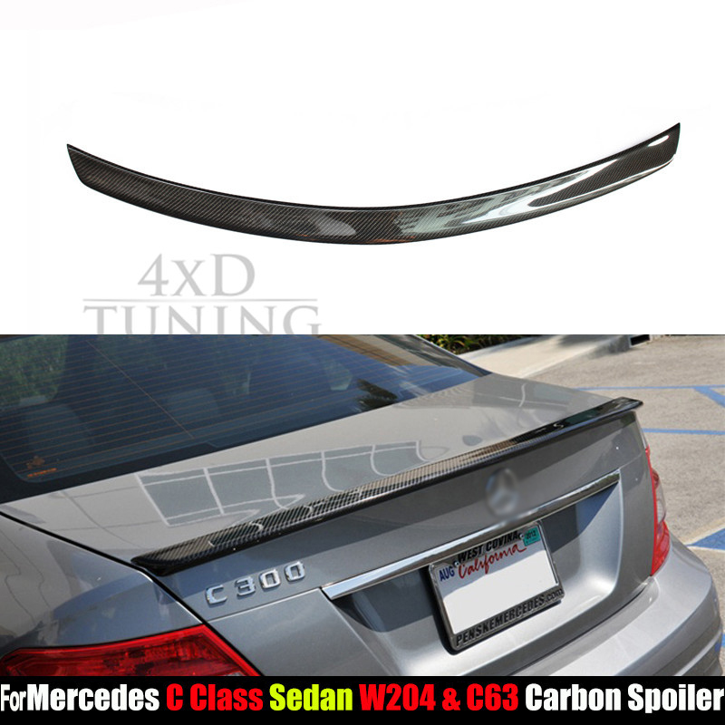 For Mercedes W204 Carbon Rear Spoiler AMG Style C Class W204 Carbon Fiber Rear Spoiler Trunk Wing Sedan 4-Doors car 2008 - 2014 carbon fiber car rear bumper extension lip spoiler diffuser for bmw x6 e71 e72 2008 2014 xdrive 35i 50i black frp