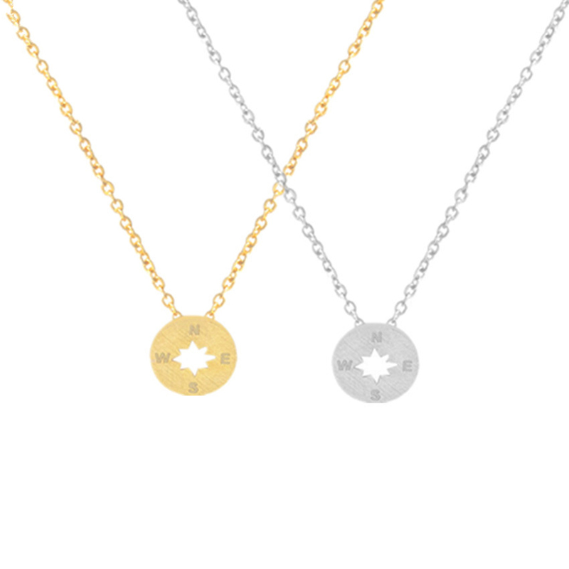 Round East South West North Directional Gold-color Tiny Round Compass Necklace for Women Outdoor Travel Jewelry Unisex Gift