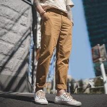 Maden erkek Vintage Casual düzenli konik Fit pilili ön pantolon ayarlanabilir kuşaklı bel