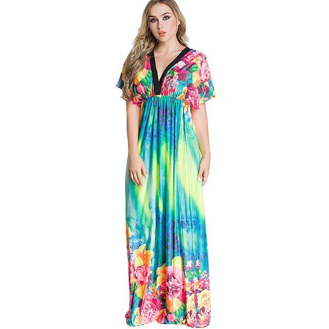 23b15dbb5d European Women Beach Dress Tunic Plus Size Deep V Neck Tie Dye Floral Long  Dress Vestido Maxi Robe Sexy Oversized Bohemian Dress