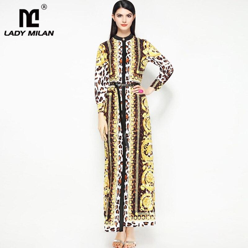 New Arrival Womens O Neck Long Sleeves Leopard Printed Vintage A Line Elegant Long Dresses with Belt