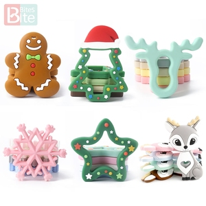 Bite Bites 1pc Silicone Teether Christmas Gifts Tree Snowflake Pacifier Chain Making Food Grade Silicone Sika Deer Baby Teether