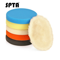 SPTA 7inch 180mm Compound Buffing Sponge Polishing Wool Pads Kit Buffing Woolen Pad For Car Buffer Polisher Sanding Waxing 6Pcs|Polishing Pads| |  -