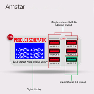 Image 2 - Amstar 6 porte 40W caricatore USB ricarica rapida 3.0 Dock Station di ricarica USB veloce con Display a LED per iPhone XS Samsung S9 Xiaomi