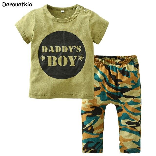 Recién Nacido Bebé Ropa verano algodón carta impresa camiseta camuflaje  Pantalones Bebé niños ropa Set niño c181d9e8bed0