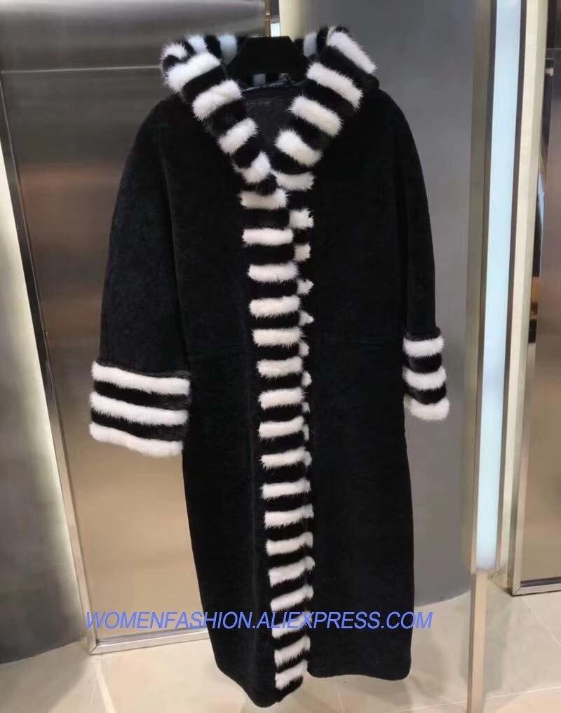 1441799934ded3 Unico Modello Donne Visone Con Pelle Inverno Zebra In Inviemo Delle  Pelliccia Abringos 2018 Cappotto Della ...