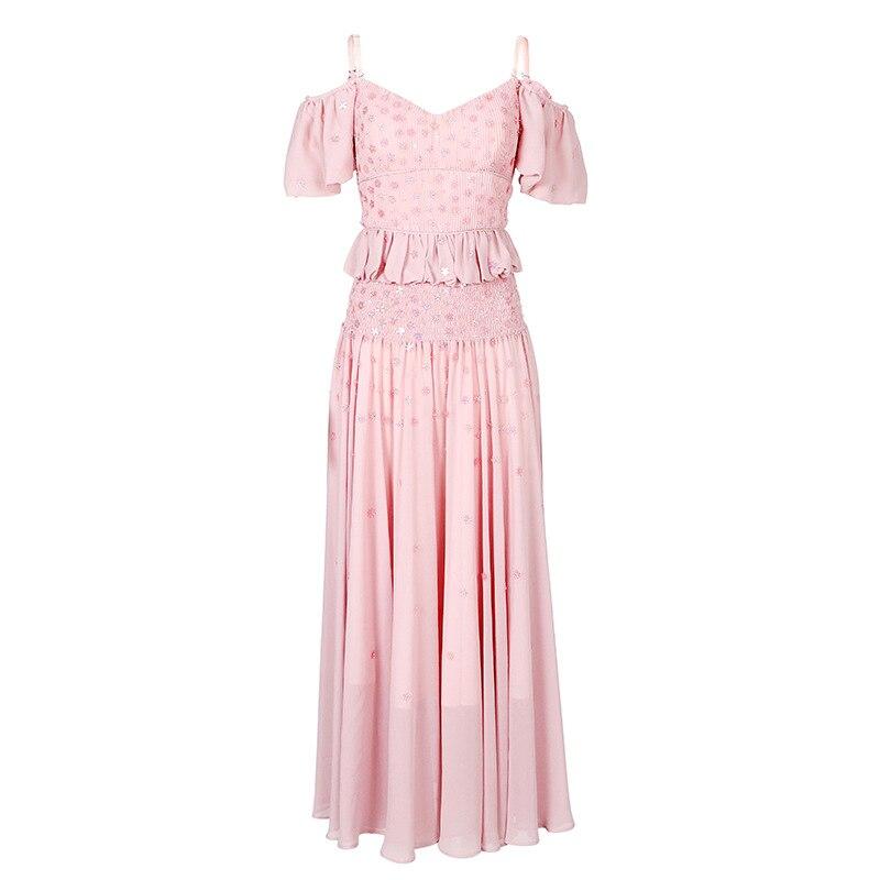 Femme Midi D'été Designer Élégante Rose Tenue Robes Printemps Sans Fashion Bretelles De Doux Manches Fête Sexy 2019 Celebrity wNkP0X8nO