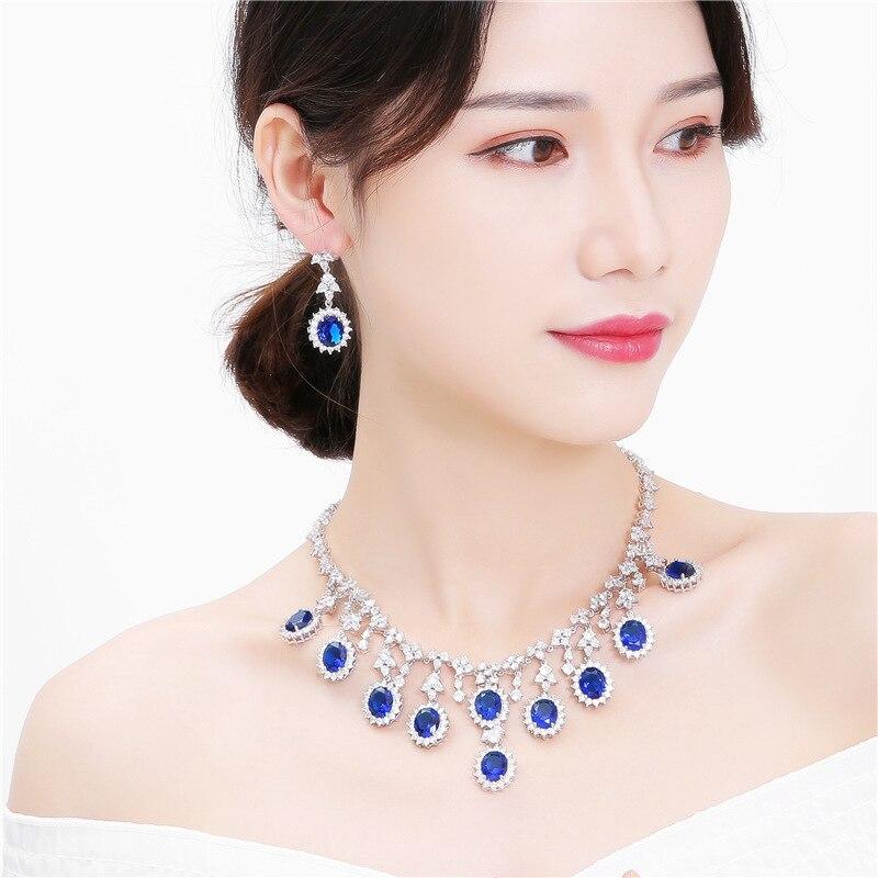 Ensemble de bijoux femme classique princesse Kate Style déclaration collier plaqué argent brillant CZ boucles d'oreilles de mariage ensemble de mariée