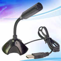 2019 High Quality Portable Studio Speech Mini USB Stand Microphone Mic With Holder Black For PC Laptop