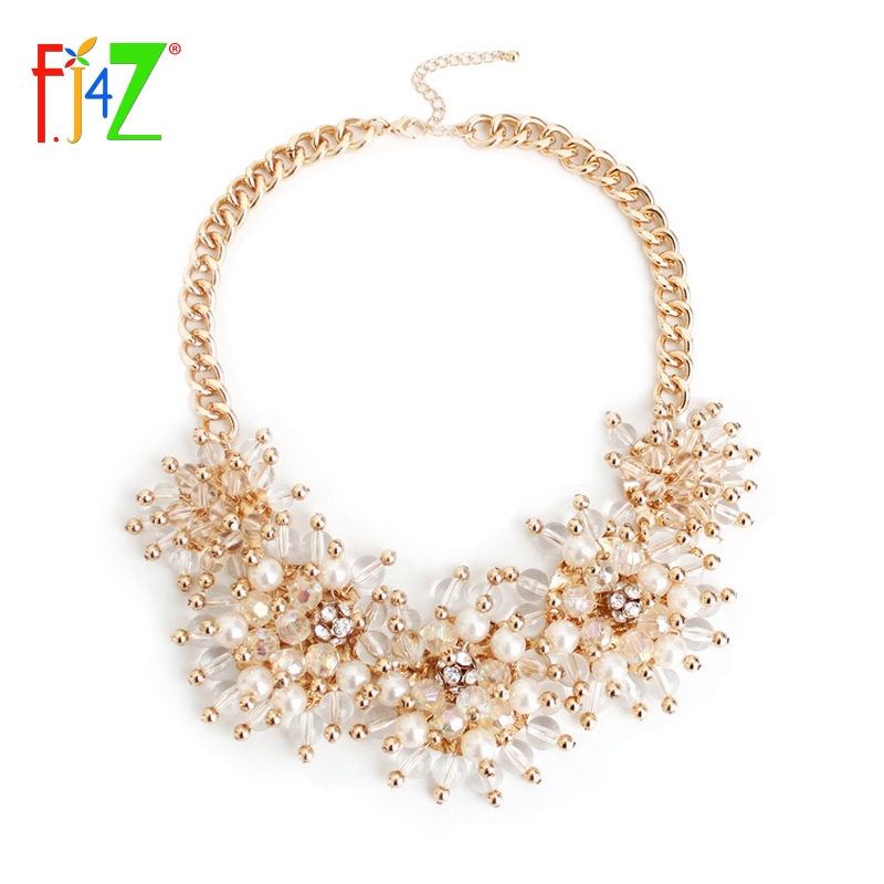 2014 Fashion Elegant Faux Pearl Gold Clear Beaded Cluster Flower Chunky Statement False Collar Pendants Necklaces