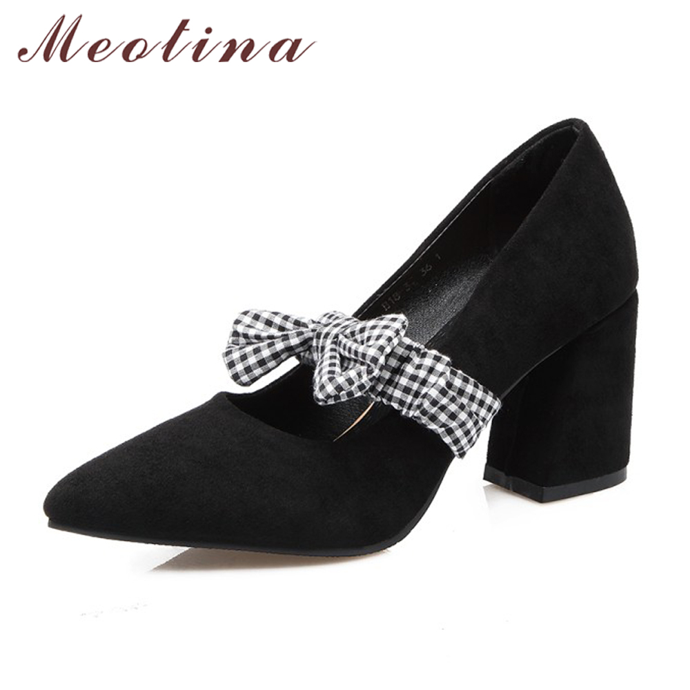 Meotina Shoes Women Plaid Bow Mary Jane High Heels Causal Pumps Pointed Toe Thick High Heels Red Pink Size 33-46 Ladies Footwear