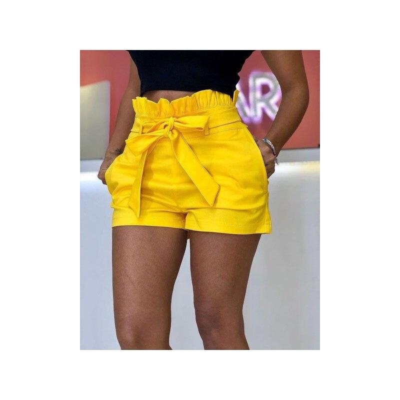 Fashion Women's Casual Cotton Shorts High Waist Candy Color Shorts Ladies Ruffles Belt Shorts Beach Club Party Wear Summer 2019