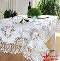 Estilo europeo de ganchillo hecho a mano de encaje cinta bordada mesa cubierta decoración para el hogar decoración de tela estera de tabla con la flor