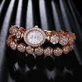 Xinge Top Brand Rose Gold  Zircon Women Dress Flowers Watches High Quality Alloy Case Luxury Bracelet Women Watch Gift Clock