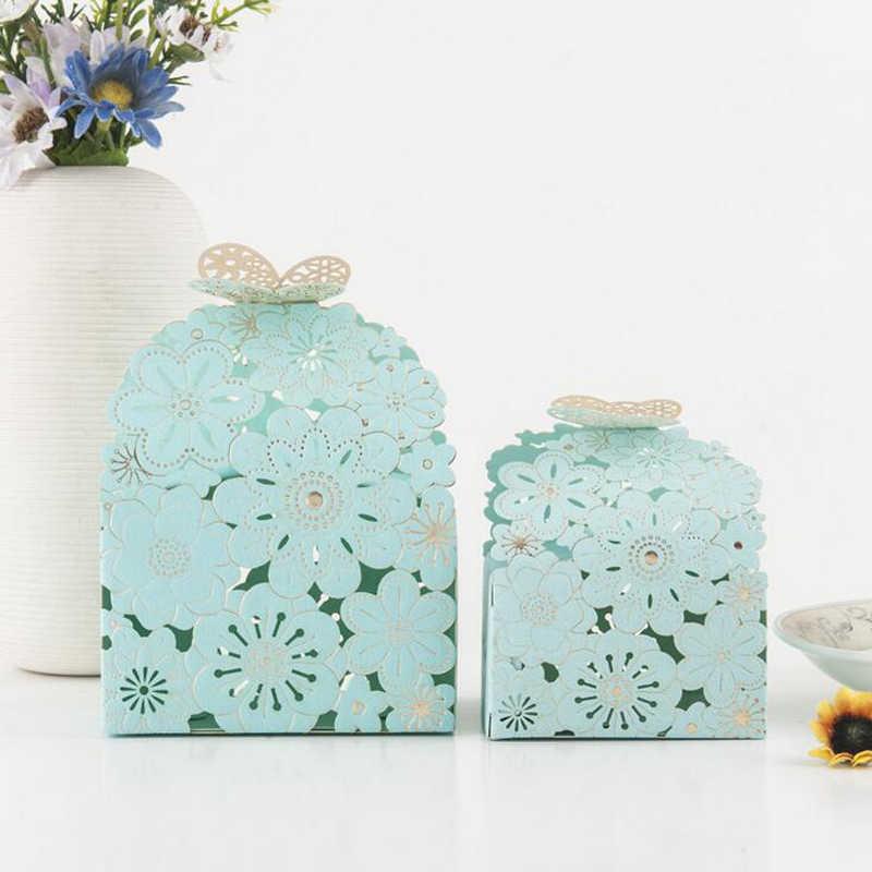 50 stücke Gehobenen Candy Box Hohl Schmetterling Design Papier Box Geschenk Boxen Nette Persönlichkeit Schokolade Box Hochzeit Gefälligkeiten Dekoration