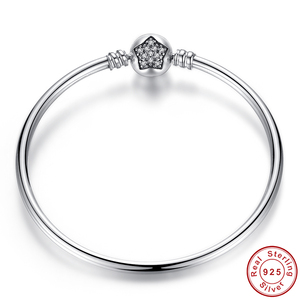 Image 5 - Pulsera de lujo con cadena de plata de ley 100% para mujer, brazalete esencial con abalorio, regalo de Navidad, 925
