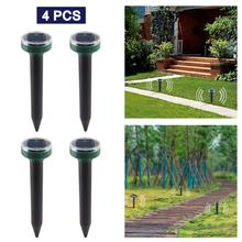 4pcs Solar powered mouse repeller Ultrasonic Sonic Mouse Mole Pest Rodent Repeller LED Light Repeller Outdoor Lamp Yard Garden