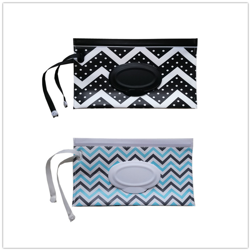 Clutch And Clean Wipes Carrying Case Eco-friendly Wet Wipes Bag Cosmetic Pouch Easy-carry Snap-strap Wipes Container 2 Pieces