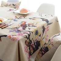 Flores pájaros tela de poliéster impresa Digital impermeable mantel cubre decoración mantel toalha de mesa