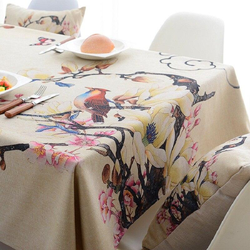 Flores pássaros impressão digital tecido de poliéster à prova dwaterproof água toalha de mesa capas decoração pano