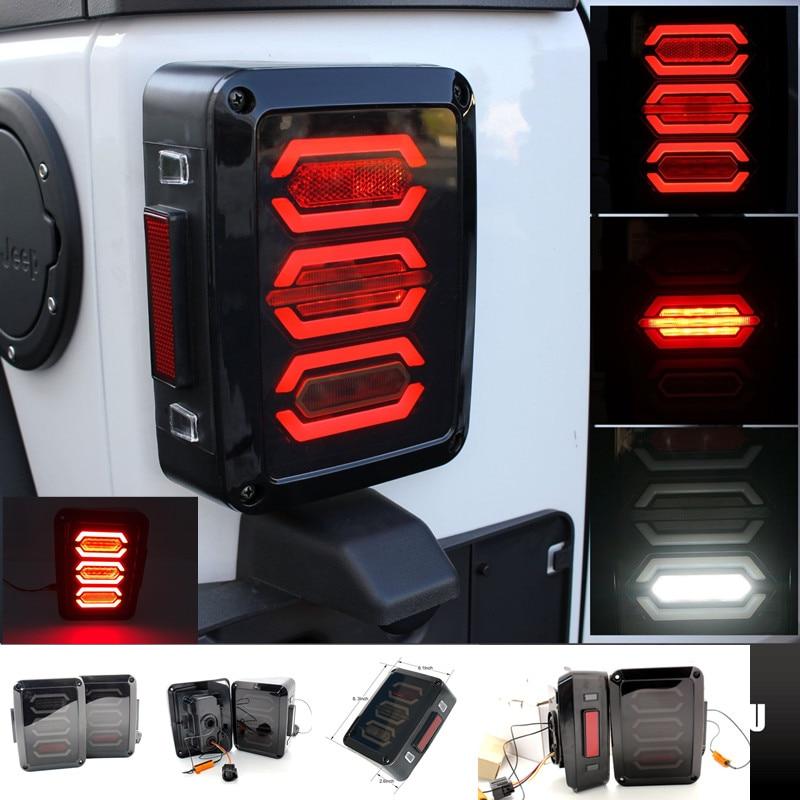 2x LED Rear Tail Light Brake Turn Signal Reverse For 07-17 Jeep Wrangler JK BLK