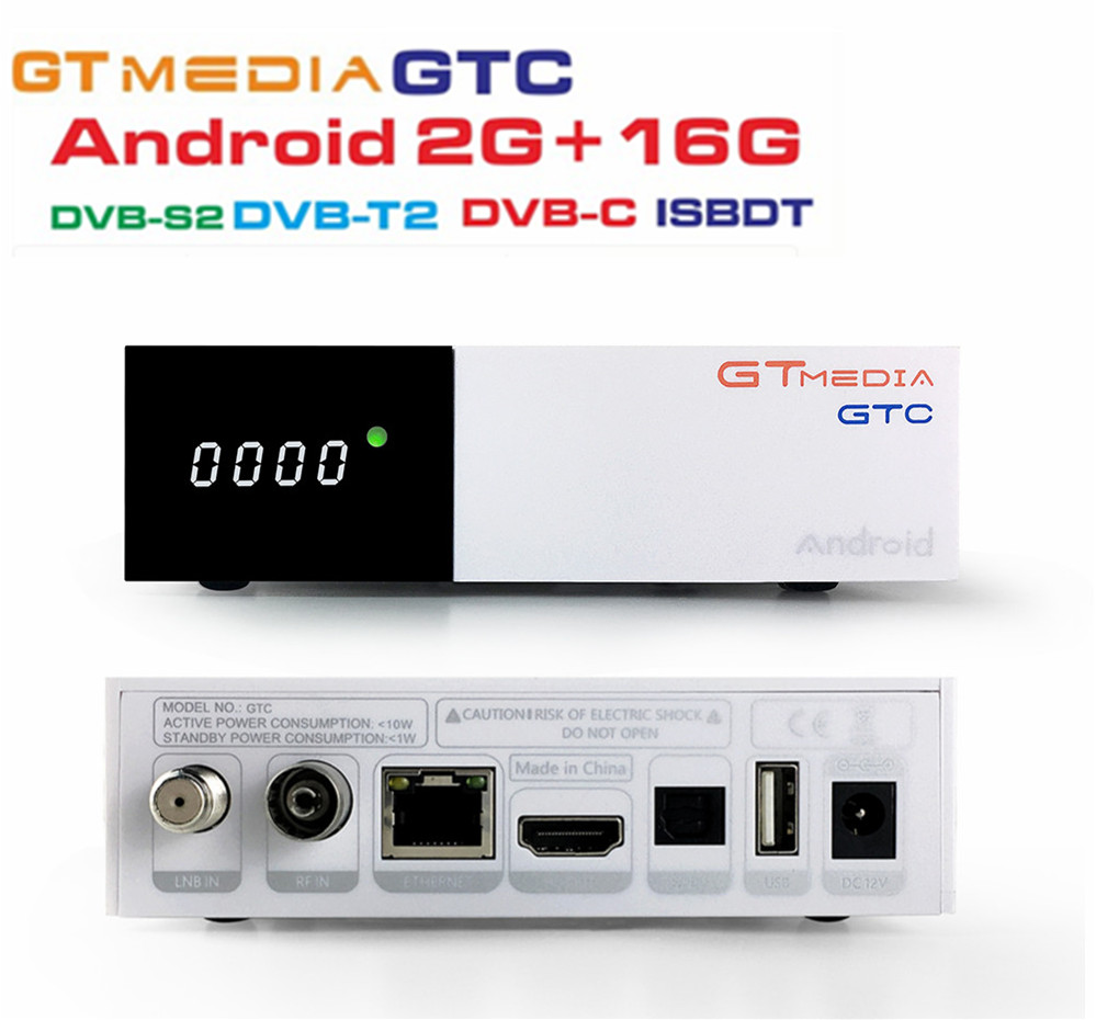 1Piece FREESAT GTMedia GTC Satellite TV Receiver DVB-S2/C/T2/ISDB-T Android 6.0 Smart TV Box Amlogic S905D 2GB 16GB BT4.0