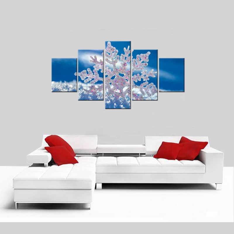 5 Stücke Segeltuchwandkunst Weißen Schnee Gemälde Moderne Winter Einfrieren Baum Leinwand Gemälde für Wohnzimmer Wand Decor Gerahmte
