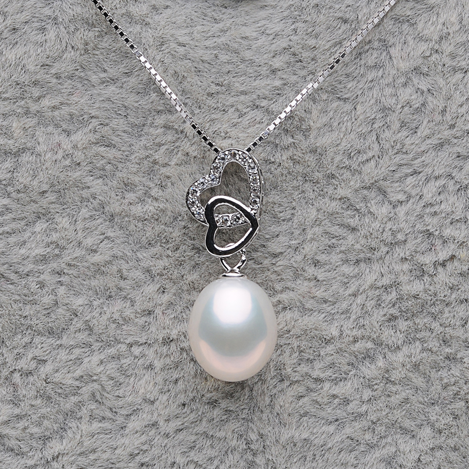 Heart Natural Pearl Pendant Necklaces for Women Freshwater Pearls Anniversary Jewelry Gifts Real 925 Sterling Silver Chain FEIGE in Necklaces from Jewelry Accessories