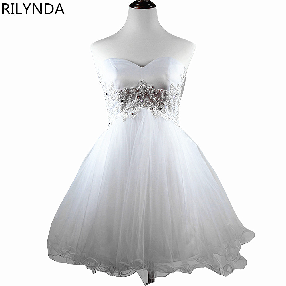 White 8th Grade Short Prom Dresses Fast Delivery Party Dresses for ...