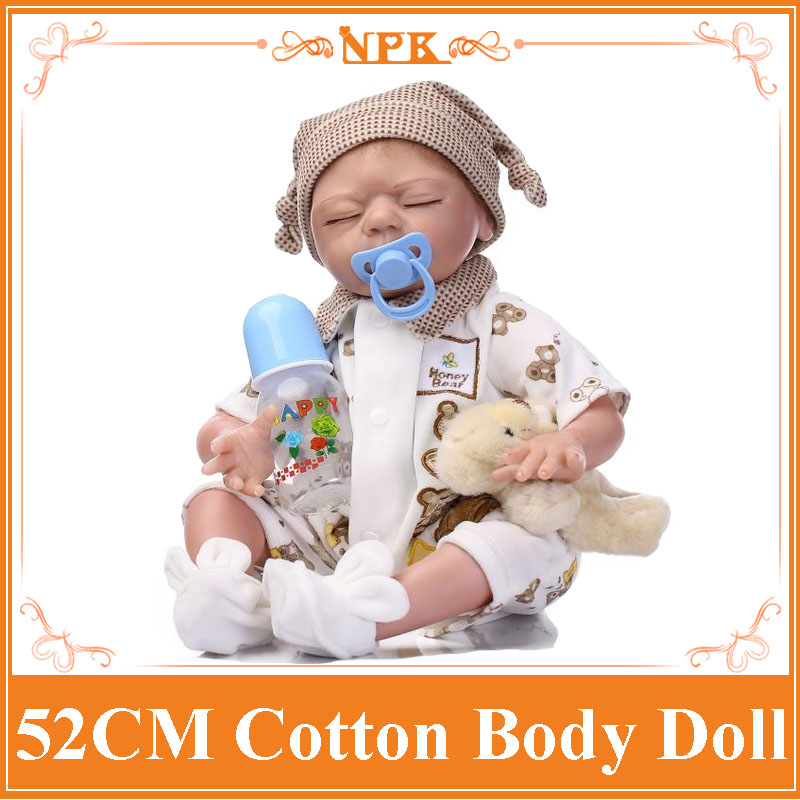 52cm Soft Silicone Reborn Baby Doll Handmade Clothes Little Girl doll with baby's Bottle Brinquedos Early Education Toy Doll 22inchs soft silicone reborn baby doll handmade clothes little girl doll reborn brinquedos early education reborn baby dolls