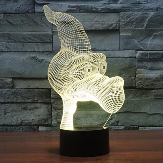 Alimentado Por USB Interruptor de Toque Colorido Gradiente 3D Optical Illusion Pterossauro Visualização Única Dos Desenhos Animados Home Decor Night Light