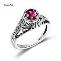 Szjinao Prinzessin Palast Geschnitzt Star Roten Kristall Vintage Ring Religiösen 925 Sterling Silber Frauen Hochzeit Engagement Schmuck