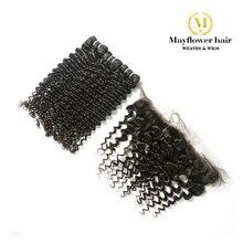 """Mayflower 2/3/4 пачки натуральные малайзийские волосы с 13x"""" кружева фронтальной натуральный черный глубокая волна 12-24"""" Смешанная Длина"""