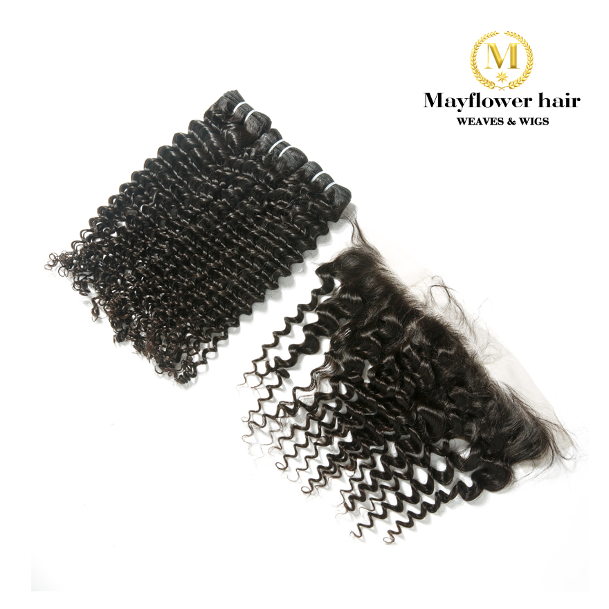 "Mayflower 2/3/4 Bundles Virgin Malaysian Hair With 13x4"" Lace Frontal Natural Black Deep Wave 12-24""  Mixed Length Free Shipping"