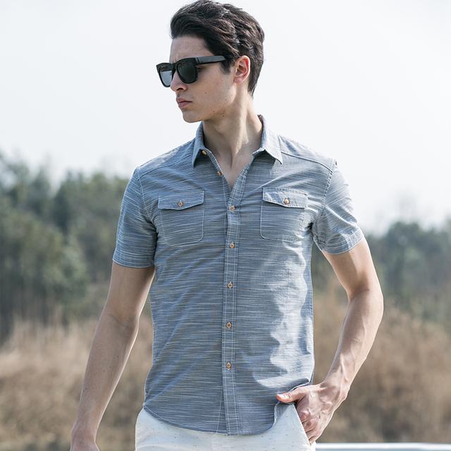Pioneer Camp Camisa Listrada Estilo Verão Men 100% Algodão Camisa Slim Fit Roupas de Marca Dos Homens de Manga Curta Camisa de Sarja 666213