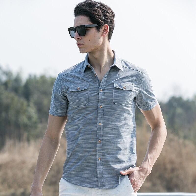 ea7f13d8eb Pioneer Camp verano estilo rayas camisa hombres 100% algodón camisa slim  fit marca ropa manga corta Camisa cruzada 666213