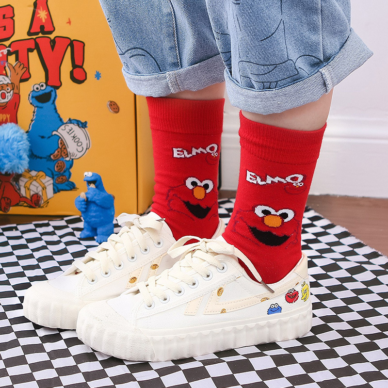 Pink White Sesame Street Cartoon Cosplay   Socks   Elmo Cookie Monster Novelty Funny Cute Women   Sock   Autumn Comfortable Cotton   Socks
