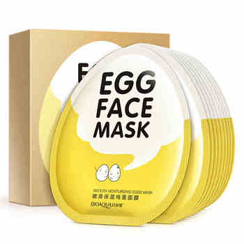 10 pcs BIOAQUA Egg Face Mask Collagen Skin Whitening Dilute Acne Facial Korean Style Cosmetics Facial Skin Care Set