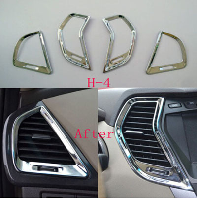 For Hyundai Santa Fe III Interior Air Conditioning Vent Door Handle Cover ABS Chrome Car Styling Stickers  Accessories nitro triple chrome plated abs mirror 4 door handle cover combo
