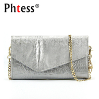 PHTESS 2017 Alligator Luxury Ladies Clutch Bags For Women Shoulder Chain Bag Female Leather Handbag Messenger