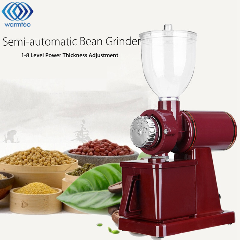 warmtoo Electric Coffee Grinder Grain Bean Grinding Machine 8 Scale Adjustment Commercial Home Crusher 110V US Plug