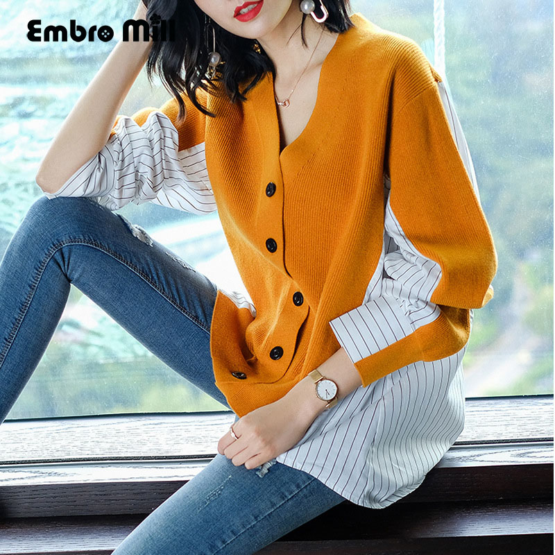 Detail Feedback Questions about Women Open Stitch Knit Oversized V neck  christmas Sweater Cardigans Loose elegant lady yellow red tricot Cardigan  Top female ... 6530dc036