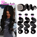 8A Malaysian Body Wave With Closure 3 Bundles Human Hair With Closure Pizazz Hair Weave Malaysian Virgin Hair With Closure