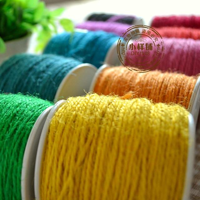 50m/Rolle zweilagig farbige färben hanfseil multicolor handgefertigt ...